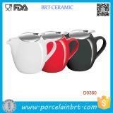 Красный черный & белый керамический чайник 750ml с сталью Infuser Strainless