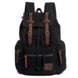 Computadora portátil ocasional Daypacks de la mochila de la vendimia unisex del morral de la lona para la taleguilla de Bookbag del estudiante de la cartera del bolso de MacBook que va de excursión negro del bolso que acampa