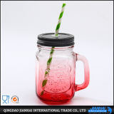 Vaso di muratore di vetro di Fashinable di colore verde con il coperchio e la paglia del metallo