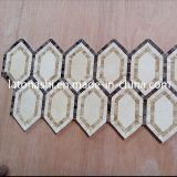 Calacattaの金の大理石のWaterjetパターン、白い大理石の斜子織のモザイク