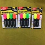 Pena de marcador com embalagem do cartão, pena fluorescente do Highlighter de 4 cores