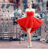 熱い販売の赤い恋人のスパンコールの軽くて柔らかい前部短く長い背部取り外し可能なスカートのプロムの服(MQ1010)