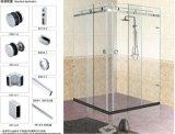 Puerta de vidrio de desplazamiento doble del acero inoxidable B001 para el cuarto de baño