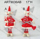 """5 """" Hx7 """" L floraux et chiot de tresse, décoration 2asst-Christmas"""
