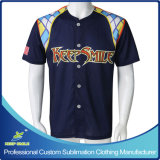 Pleins de Bottons de sublimation faite sur commande Jersey de base-ball vers le bas