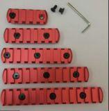 Entalhes seções de trilho chaves de alumínio da modificação Handguard de Picatinny do vermelho 5/7/9/11/13/tecelão