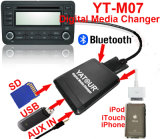 Cambiador dos meios de Yatour Ytm07 Digitas (CD, USB, auxiliares dentro, iPhone, bluetooth)
