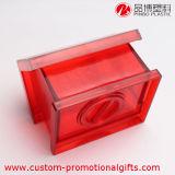 Caja roja del ahorro de la moneda de la casa de la historieta transparente plástica