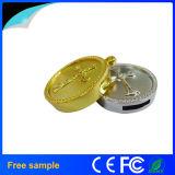 Geheugen van de Flits van het Metaal USB van de Vorm van het Muntstuk van het Embleem van de douane het Gouden Zilveren