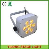 4en1 RGBA 9X10W inalámbrica de batería recargable ligera del LED