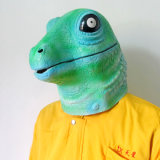 Máscara principal cheia do carnaval do vestido extravagante da alta qualidade do lagarto do réptil do látex