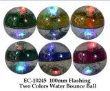 100 mm intermitente Dos Colores Agua rebote de la pelota