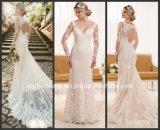 Vestido de casamento longo D1950 da bainha do laço das luvas do vestido nupcial de Tulle dos pontos