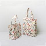 Dos bolsos amarillentos de los bolsos de compras de las flores y de los pájaros de la manera retra de las tallas (CK005-4)