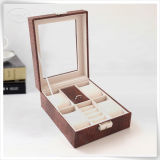 Plutônio Handmade Leather Watch Gift Box de Multifunctional com Glasses Window
