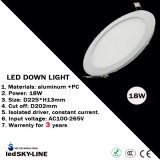 18W LED Round Panel Light con external Driver con el Ce y RoHS Certification