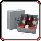 Boîte-cadeau estampée par coutume en verre de vin de papier de qualité