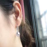 고품질 형식 백색 진주 귀걸이 8-9mm 하락 925 은 간단한 진주 귀걸이
