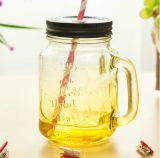 Alto Flint Beautiful Glass Mason Jar con Logo per Juice con Cover variopinto e Straw variopinto Hot Sale