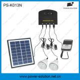 sistema di illuminazione solare domestico portatile del comitato solare di 4W 11V con il caricatore del telefono mobile dei 2 indicatori luminosi (PS-K013N)