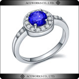 Nuevo diseño 2015 alrededor del anillo de la piedra preciosa de la plata esterlina 925