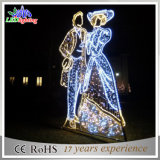 Luz colorida ao ar livre de cintilação da corda da decoração do Natal do feriado