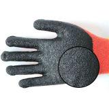 forro do poliéster 13G com látex preto a luva revestida do trabalho da segurança