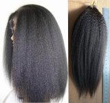 """30 """" perruques droites crépues d'avant de lacet d'Afro brésilien de cheveux humains"""