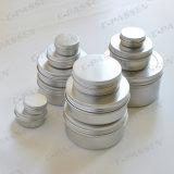 Vaso crema cosmetico di alluminio d'argento con il coperchio a vite