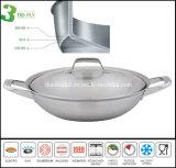 Articolo da cucina del Wok dell'acciaio inossidabile delle 3 pieghe