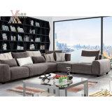 Il sofà grigio scuro del tessuto del salone ha impostato con l'ottomano e l'angolo (6109A)