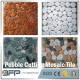 Rebanadas de guijarros pulidos de corte mosaico de azulejos con color mezclado utilizado en el suelo del jardín