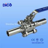 Válvula de bola de soldadura extendida 3PC con el tubo Sanitaria