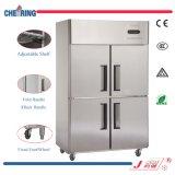 Congelador ereto do congelador do aço inoxidável da porta do anúncio publicitário quatro do equipamento da cozinha