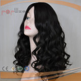 Peluca rizada natural de las mujeres de la tapa de la piel del estilo de la onda del pelo humano