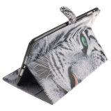 Cubierta de cuero superior del soporte del aire del iPad de la PU Apple del modelo blanco del tigre