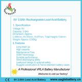 batteria ricaricabile libera del AGM di manutenzione VRLA di 6V 2.8ah