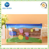 PVC Plastic Pen Bag de mode avec Zipper (JP-plastic049)