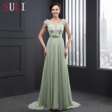 Cap Sleeve O-Neck Belt A Line Evening Dress (SL2013)