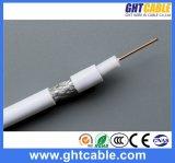 1.02mmccs, 4.8mmfpe, 128*0.12mmalmg, Od: 6.8mm Black PVC Coaxial Cable RG6