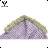Color sólido de invierno que hace punto con capucha de la bufanda de la señora con piel Hemming