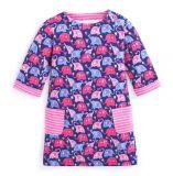 Animale su ordinazione del fumetto del vestito casuale da Longsleeve del cotone delle neonate per i capretti 3-8yrs