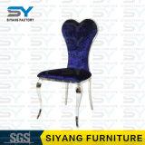 Edelstahl-Möbel-blauer Bankett-Stuhl-Esszimmer-Stuhl