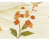 Conjunto de cama de bordado floral liso
