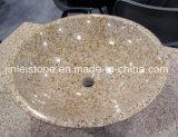 すべての磨かれた山西の黒い花こう岩の円形のカウンタートップの洗面器