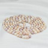 Collar de agua dulce cultivado verdadero multicolor largo de la perla de la joyería del agua dulce de la dimensión de una variable del DOP de 60 mujeres de la pulgada