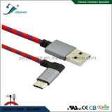 USB는 C에게 전화 휴대용 퍼스널 컴퓨터를 위한 Matel 헤드 그리고 끈목을%s 가진 USB2.0 a/Male에 측향된 90 도를 타자를 친다