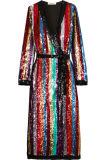 Фиоритура высокого качества Striped Sequined платье обруча Georgette для женщин