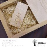 Hongdao a personnalisé le _E en bois de prix de gros de caisse d'emballage de drive USB de logo