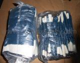 저어지 면 강선 안전 팔목을%s 가진 파란 니트릴 완전히 입히는 장갑